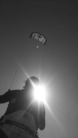 Skyisthelimit Lens Flare Sun Leisure Activity Sport Low Angle View Sky Clear Sky Day Sunbeam Sunlight Just Chillin' Purepunk PureJoy Punkrock Tranquility Blackandwhitephotography Lifestyles EyeEmNewHere