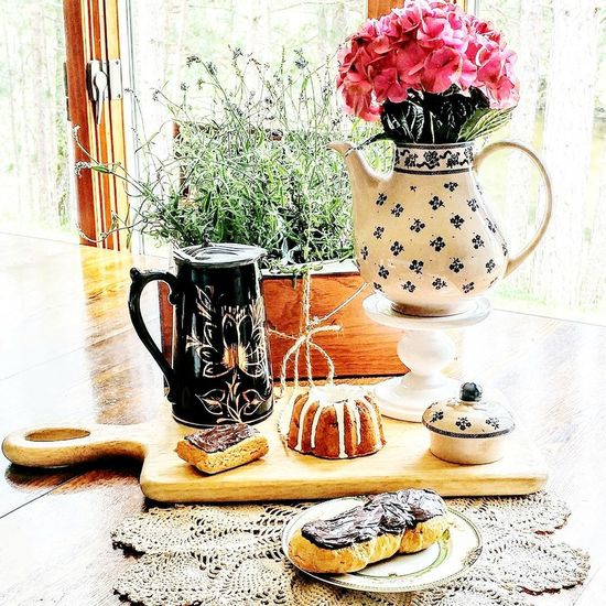 Table Indoors  Flower EyeEmNewHere Countertop Hydrangeas Mirror Window Laura Ashley Coffeepot Snacks Goodies Cuttingboard Let's Go. Together.emselects