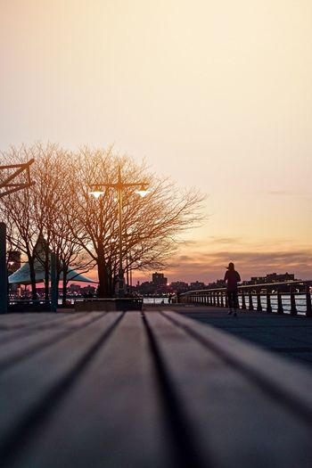 Hudson River Greenway City Park Hudson River Sunset Sky Transportation Nature Road Architecture City Tree Orange Color Silhouette Beauty In Nature Street Water Scenics - Nature