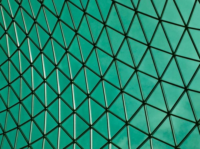 Full Frame Pattern Backgrounds Design No People Shape Geometric Shape Blue Architecture Built Structure Triangle Shape Indoors  Textured  Green Color Grid Diamond Shaped Close-up Abstract Turquoise Colored
