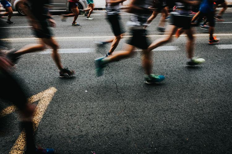 Marathon Run Runners Running Blurred Motion City City Life Competition Marathon Runner Motion Real People Road Runner Speed Street