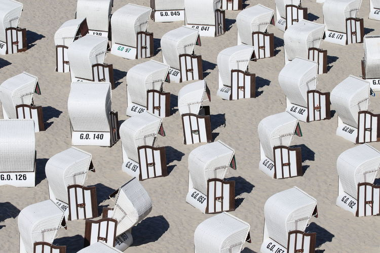 High Angle View Of Hooded Beach Chairs