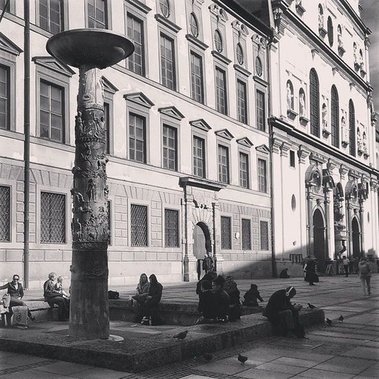 Germany Richard_Strauss Music Composer Memorial Fountain Statue Column München Munich Altstadt Europe Architecture Design Old History Tourist Travel Awesome Instagermany HTC_One Instamunich Black_white Bw Shadow