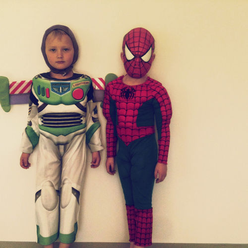 Two children dressed up as superheroes. Superhero Brother Child Childhood Indoors  Innocence Looking At Camera Sister Togetherness Two People