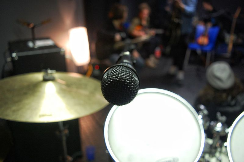 Music Indoors  Microphone Focus On Foreground Arts Culture And Entertainment Drum Kit Drum - Percussion Instrument No People Musical Instrument Close-up Recording Studio Day