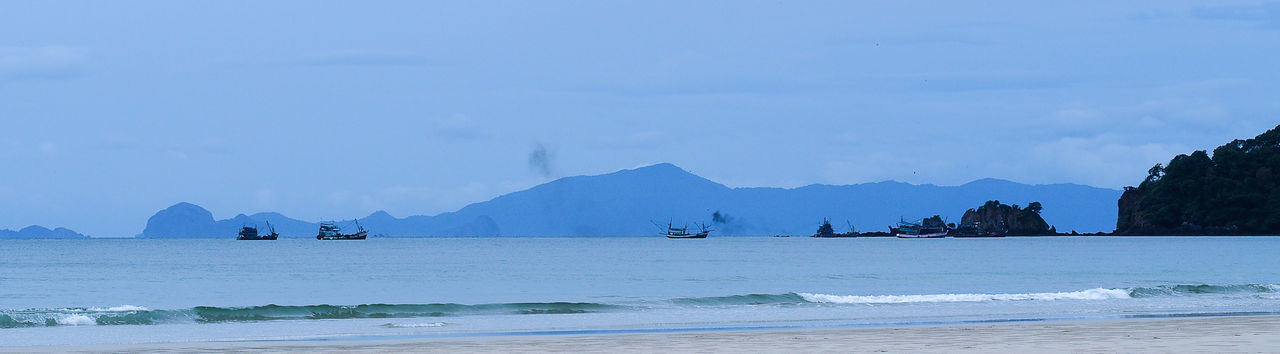 Jeans Brown Photography - Panorama Bay Of Water Beach Beauty In Nature Blue Day Landcape Landscape Mountain Nature Nature Nature Photography Nature_collection Nautical Vessel No People Outdoors Sailboat Sea Seascape Sky Thailand Thailand_allshots Tranquil Scene Travel Destinations Water
