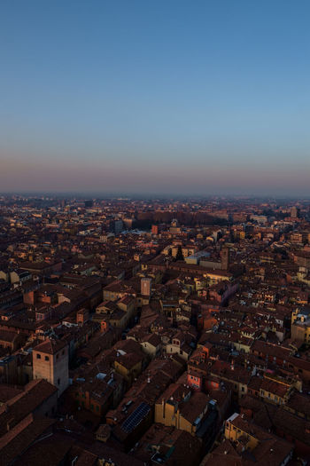 Townscape of Bologna Bologna Italy City Cityscape Skyscraper Urban Skyline Modern Illuminated Business Finance And Industry Downtown District High Angle View Sky Aerial View Office Building Exterior Settlement Tall - High