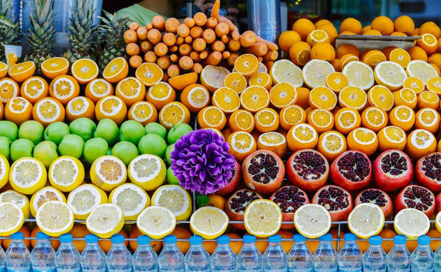 Apple Green Apples  Juice Orange Pomegranates  SLICE Apples Arrangement Close-up Food For Sale Freshness Front View Fruit Fruits Green Apple Multi Colored No People Pomegranate Pomegranate Seed Shop Street Summer Sweet Food Variation