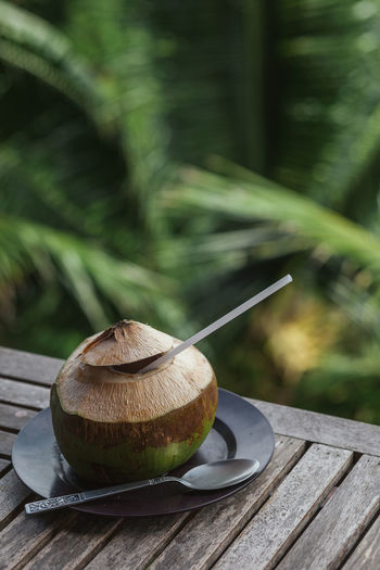 Close-up of fresh coconut drink