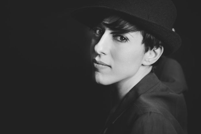 Black & White Charm Charming Chili Pepper Composition Confidence  Front View Full Lips Glass Hat Hats Lifestyles Lips Looking At Camera Mediterranean Beauty Pepper Person Portrait Real People Serious Short Hair Woman Woman Portrait Young Adult