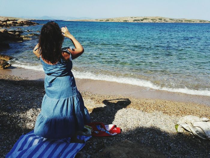 Summer Taking Photos Athens, Greece Sea And Sky EyeEm Selects Sea And Sky EyeEm Nature Lover Relaxing Moments With Friends Naturelovers Sea View Full Length Blue Water Turquoise Colored Clear Water Beach Near Athens colour of life Close-up