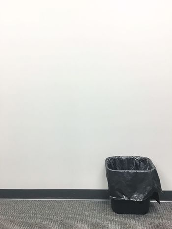No People Indoors  Trashcan Trash Waste Wastebin Refresh Restart Start Anew Goals Simple Simplify Blank Space Office Space Bin Throw Out Clean Slate Clean Clean Up Blank Wall Office Building Soft Colors  Fresh Spring Clean Declutter