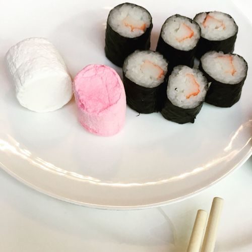 Sometimes I don't understand in creativity or people's choice Food Freshness Variation High Angle View Sweet Food Indoors  Ready-to-eat No People Plate Close-up Day Marshmallows and Sushi Really?  Contradiction