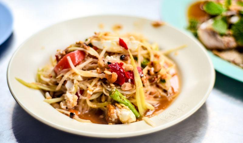 Papaya salad, Thai food Close-up Food Food And Drink Freshness Gourmet Healthy Eating Papaya Salad Ready-to-eat Som Tam Thai Spicy Food Thai Food