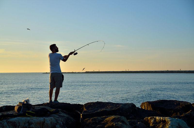 Fisherman launching