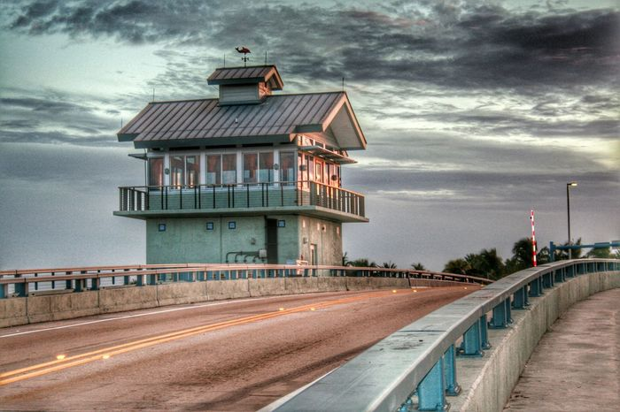 Drawbridge  Bridge Gatehouse Light And Shadow From The Archives Outdoors Clouds And Sky Nature No People Sunlight And Shadow Matlacha Florida United States The Architect - 2016 EyeEm Awards