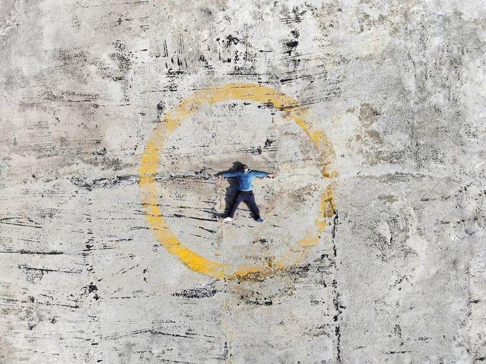 High angle view of man on wall