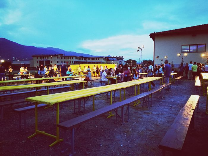 People. Yellow Tables People Happiness Food And Music Italy Liguria Bastia