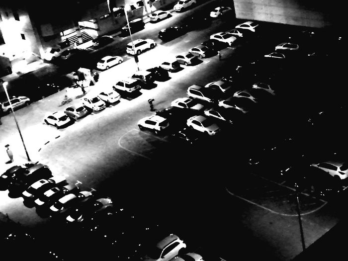 Monochrome Photography Back Lit City Life Dubai❤ Dubai Parking Lot Parking Nightphotography Lowlight HuaweiP9 Huaweiphotography