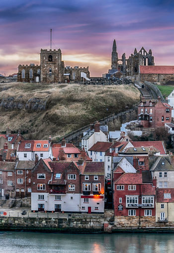 Ain't no mountain high enough. Sunrise Harbor Waterfront England United Kingdom Great Britain Europe Travel Travel Destinations Landscape Nature Church Architecture Architecture_collection Whitby Whitby Abbey Cityscape City Nautical Vessel History House Clock Tower Boat Countryside Dock