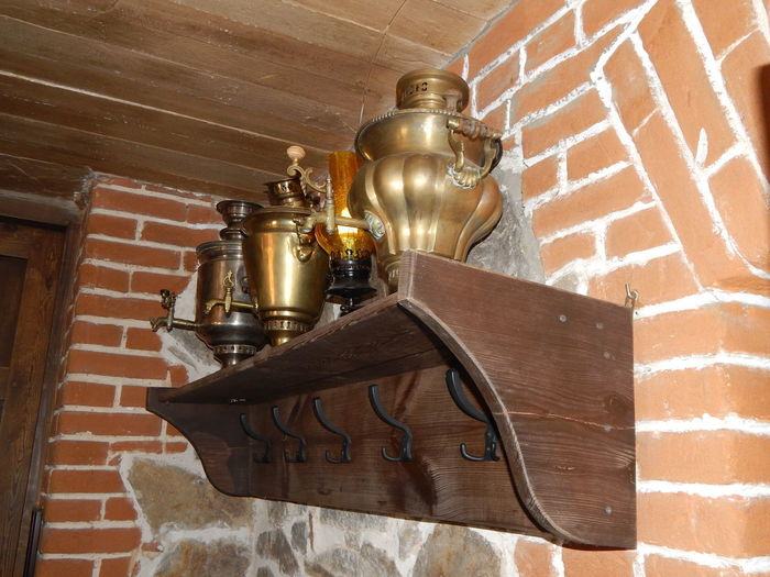 High angle view of old lamp on wall