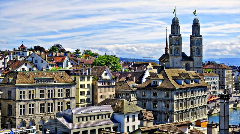 View from Lindenhof to Limmatquai Architecture Building Exterior City Cityscape Clock Tower Limmatquai Outdoors Switzerland Travel Destinations Zürich