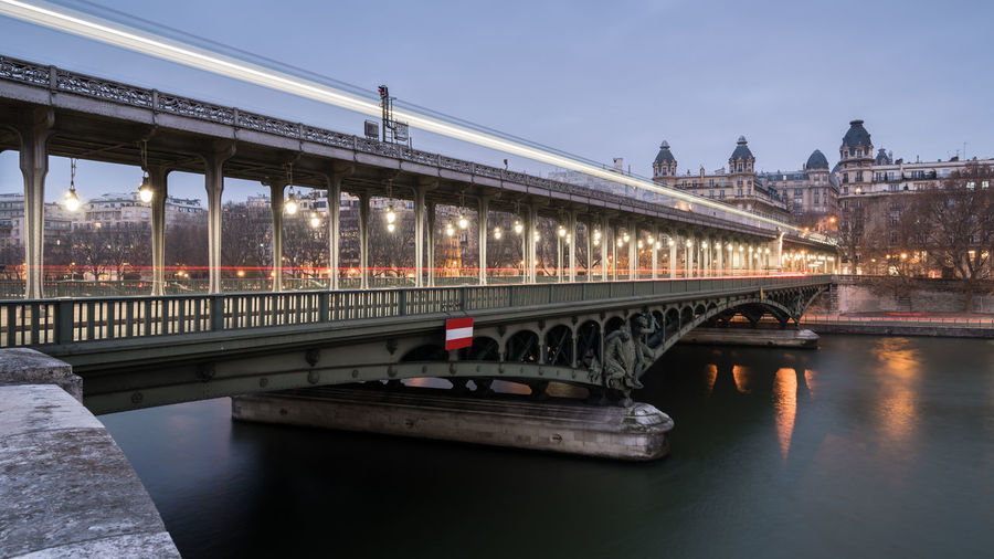 Pont de Bir-Hakeim Architecture Architecture_collection Blue Hour Bridge Bridges Capital Cities  City Dusk Dusk In The City France French Inception Inception Bridge Light Light Trail Lights Paris Pont De Bir-hakeim Seine Transport Transportation Travel Twilight Viaduct