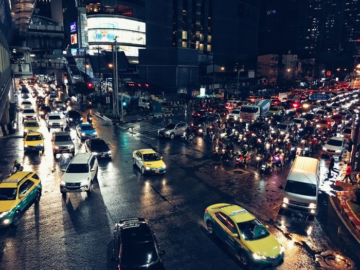 Traffic City Night City Life Illuminated Transportation Street Car City Street Building Exterior Outdoors Large Group Of People Architecture Road Real People Motorcycle People Night Photography Nightphotography Night Lights Traffic Nighttraffic Night Traffic Bangkok Thailand