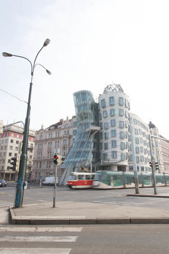 Pargue Building Exterior Built Structure City Dancing House Prague Day Road Sky Street