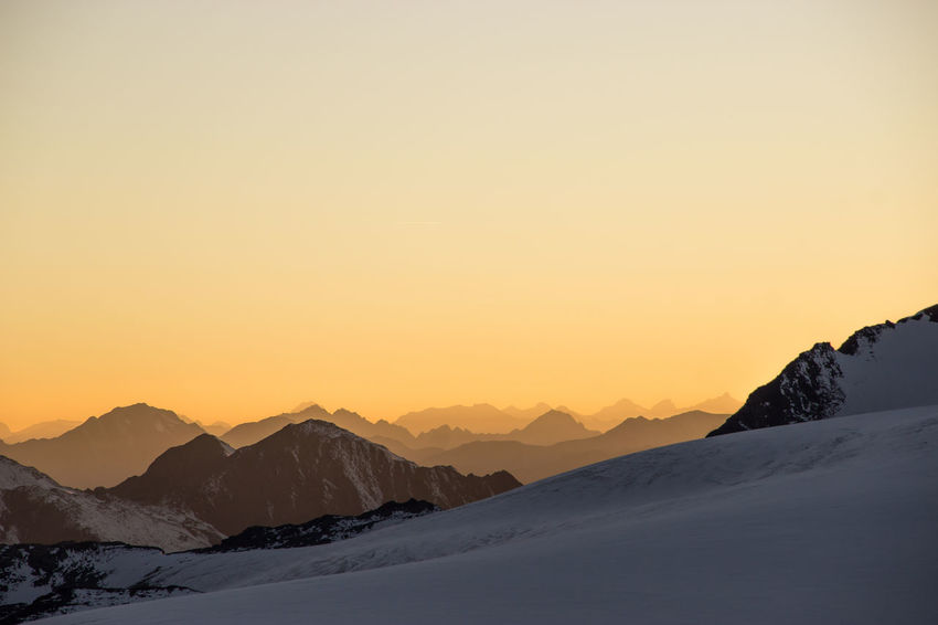 Evening Light Hiking Adventure Beauty In Nature Clear Sky Cold Temperature Copy Space Day Glacier Landscape Mountain Mountain Range Mountains Nature No People Orange Color Outdoor Outdoors Scenics Sky Snow Sunset Tranquil Scene Tranquility Winter