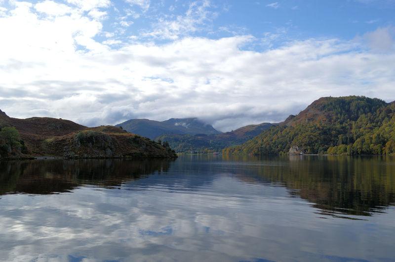 Calm lake against clouds