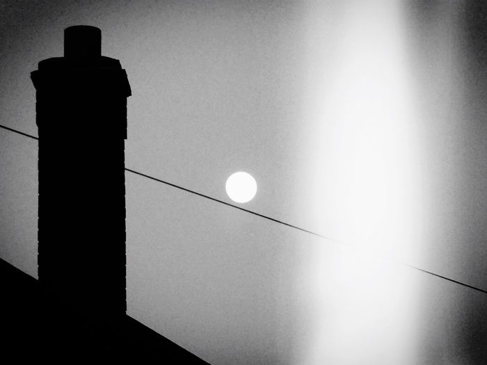Moon Sky Chimney Night Blackandwhite Blackandwhite Photography Nottingham