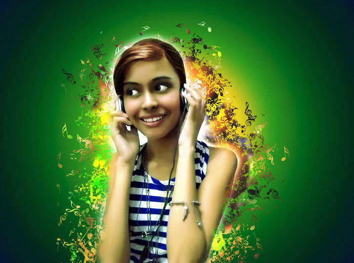 First Eyeem Photo Music Headphones Musical Notes Green Background Listening To Music Model Portrait Young Girl