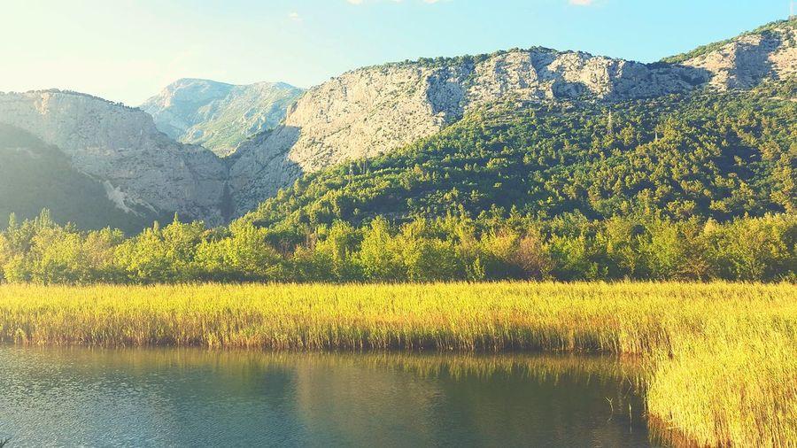 Canyon of river Cetina in Omiš, Croatia River Canyon Croatia Mountain Mountains Trees Sky Sunset