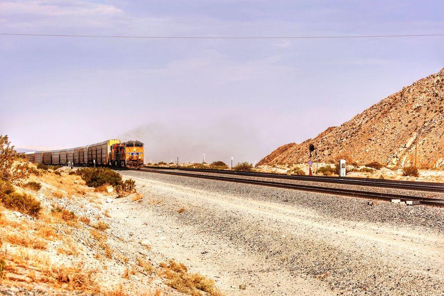 Freighttrain Freight Train Freight Transportation JGLowe Desert Landscape Desert Locomotive JGLowe Train Track Train JGLowe