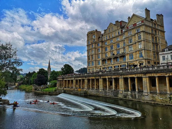 Historic Bath and Empire Hotel Avon River Bath Empire Hotel Somerset England Water City Sky Architecture Cloud - Sky Building Exterior Built Structure