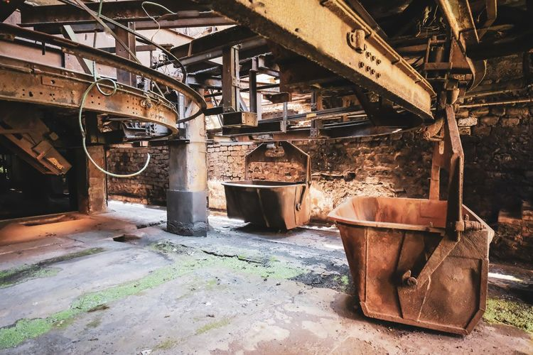 Rusty metal in abandoned factory