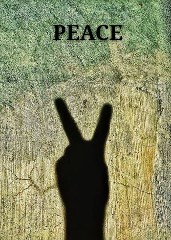 Shadow Wall Colors Hand Sign Symbol Fingers Peace Symbol Sand