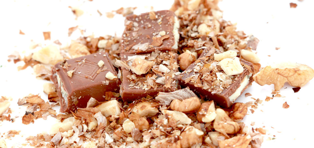 Chocolate Chocolate Time Close-up Filled Food Food And Drink Freshness Milk Chocolate No People Nut Ready-to-eat Sweet Food Walnut White Background