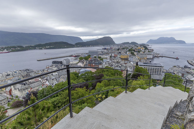 Alesund - Norway Architecture Beauty In Nature Building Exterior Built Structure City Cityscape Cloud - Sky Day High Angle View Mountain Mountain Range Nature No People Outdoors Scenics - Nature Sea Sky Tranquility Water