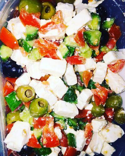 slade Salade Mixed Tomato Olive Green Black Cumcumber Cheese Salt Healty Healthy Eating Healty Life