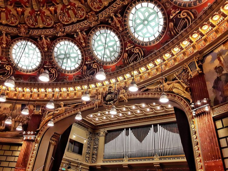 Indoors  Low Angle View Architecture Built Structure Ceiling No People Day Details Shadows & Lights Window History City Bucharest Architectural Column Close-up Design Detail Details Textures And Shapes Romanian Athenaeum Philarmonic Art Culture Music Musical Instrument Lights Art Is Everywhere