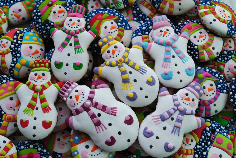 Full frame shot of colorful snowman cookies