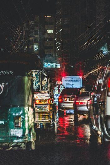 Cities At Night Bangladesh Streetphotography Outdoors Streetview City Street Urban Photography Urban Nightphotography Traffic Traffic Jam Cars Compositions Chittagong City Neon Life HUAWEI Photo Award: After Dark