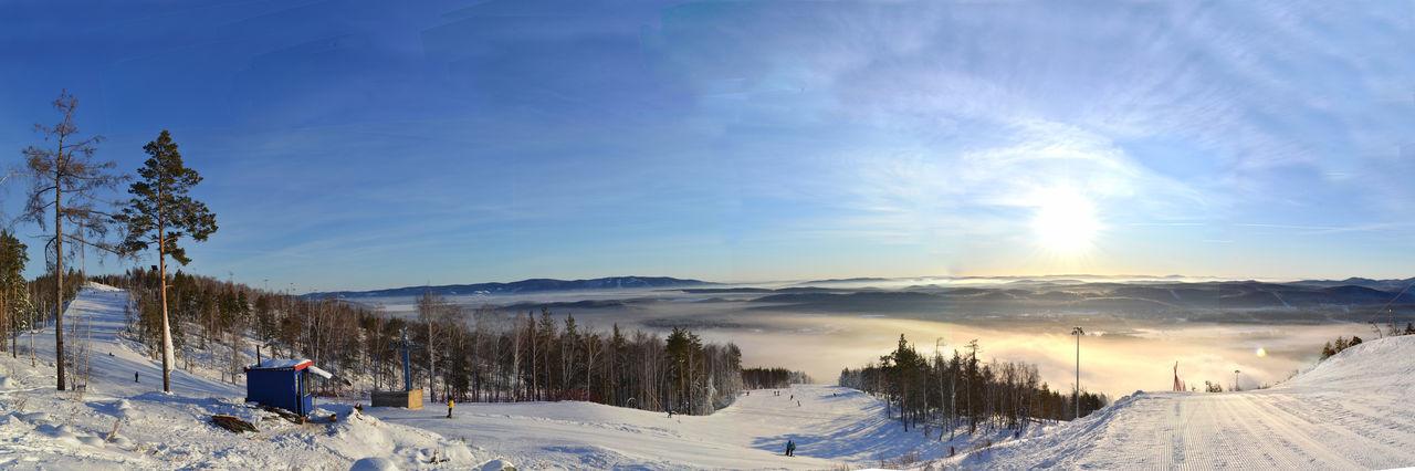 Panoramic view of ski lift against sky