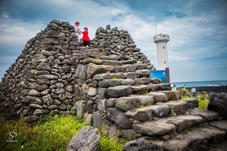 The beautiful Jeju Island Rock - Object Low Angle View Lighthouse Scenics