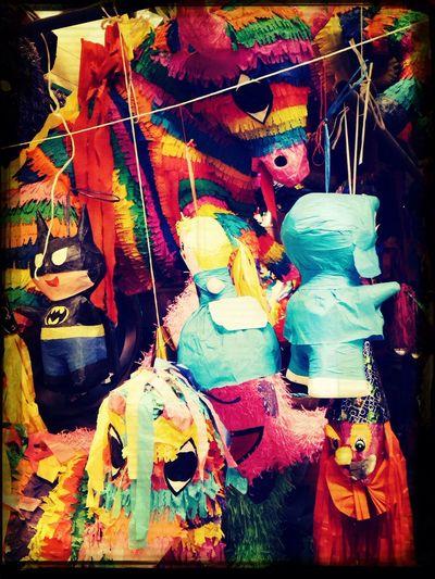 piñatas Walking Market Mexico