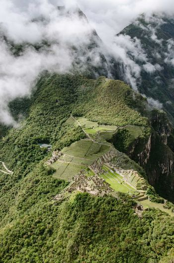 Aerial View Of Mountains With Green Trees And Cloud