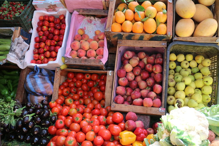 High Angle View Of Fruits And Vegetables At Market Stall