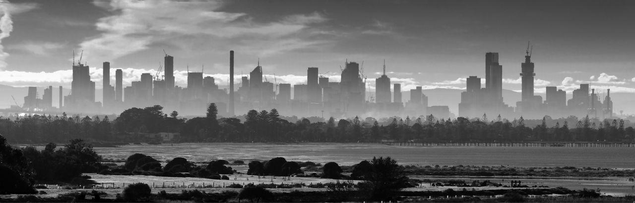 Panorama Black And White Monochrome Smoke Smog Distance City Cityscape Day Travel Destinations Skyscraper Pollution Melbourne Telephoto Victoria Sky Built Structure Port Phillip Bay